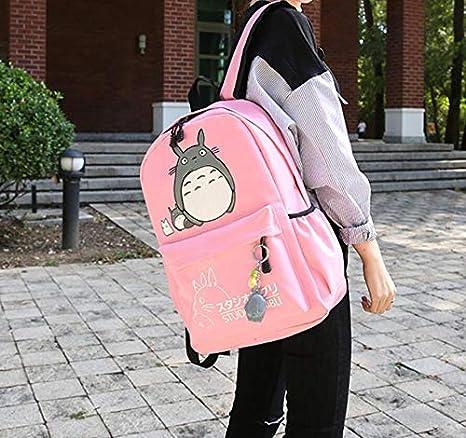 689081dfa1 Amazon.com   Thedmhom 1 Pcs New Cute Kawaii Animal Classic Cartoon Anime  Pink Canvas Totoro Backpack Stationery Fashion Casual Bag Satchel Schoolbag  Student ...