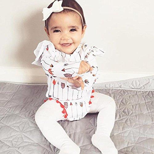 2pcs Baby Boy Girl USA Flag Stars Stripes Pompom Tassel Balls Romper/Arrow Print Romper+Headband (0-3 M, White)