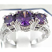 Kassarin Shop 925 Sterling Silver Three Stone Ruby Emerald Sapphire Ring Wedding Women Jewelry (8, purple)