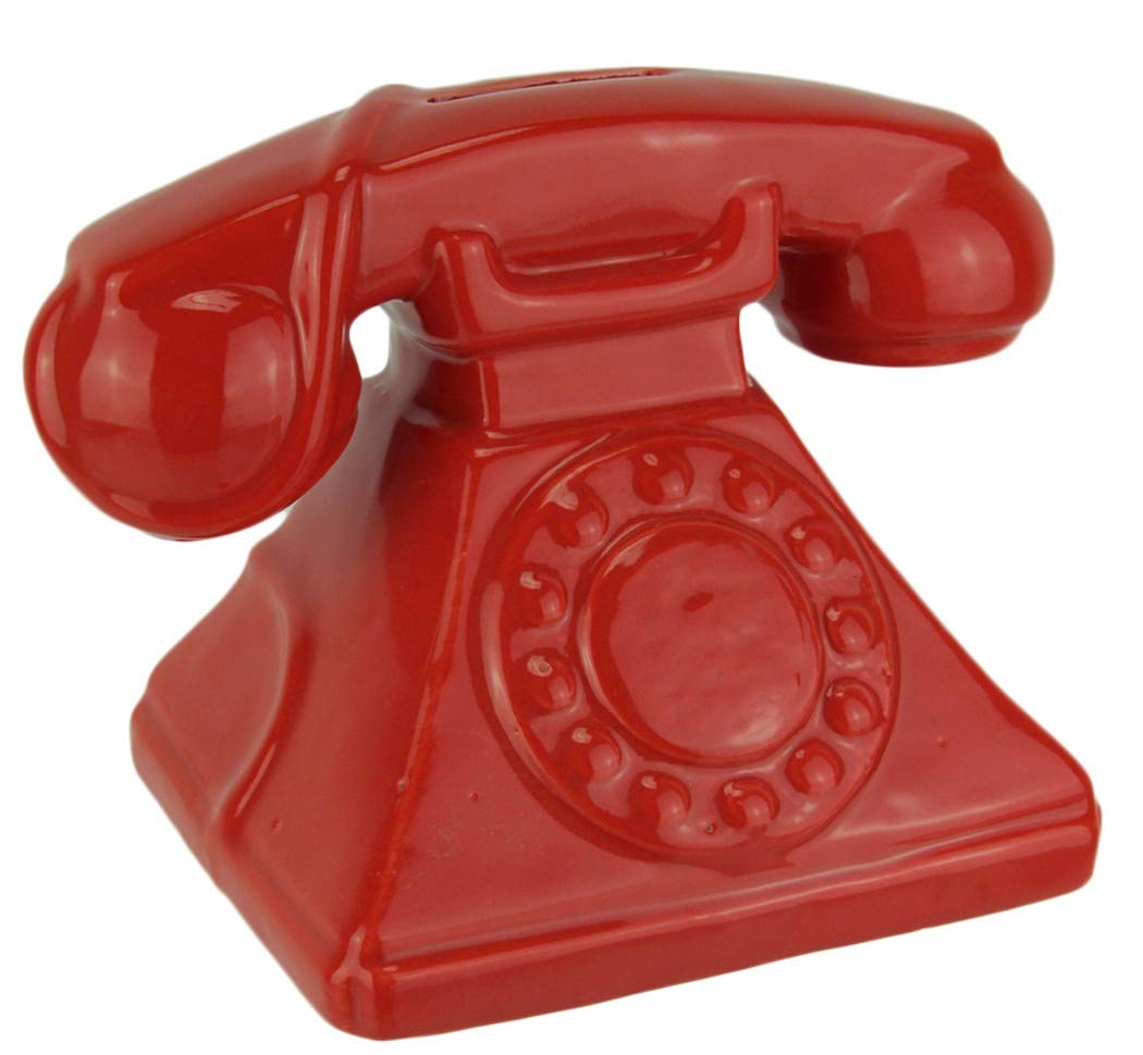 Kingmax Ceramic Nostalgic Rotary Telephone Decor Bank 79868 6.5 Inches x 4.25 Inches x 4.75 Inches (Red)