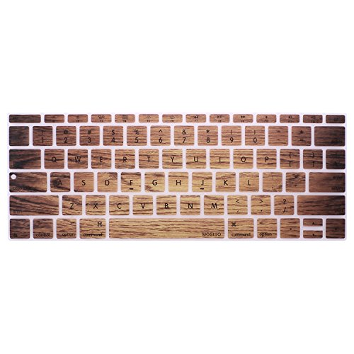 MOSISO Silicone Keyboard Cover Compatible MacBook Pro 13 Inch 2017 & 2016 Release A1708 Without Touch Bar, MacBook 12 Inch A1534 Protective Skin, Wood Grain