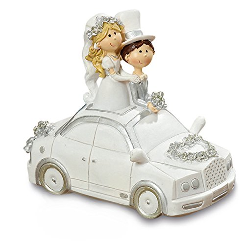 The Happily Ever After Bank, Car With Bride and Groom, White With Silver Heart, Hand Painted And Cast Poly-resin, Removable Bottom Plug, Coin Slot, 6 ¼ L x 5 ½ H inches, By Whole House Worlds
