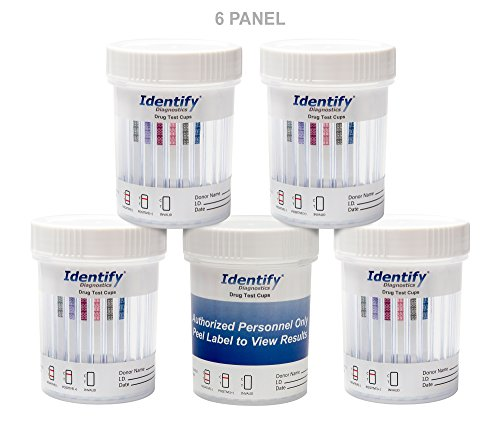 5 Pack Identify Diagnostics 6 Panel Drug Test Cup Testing Instantly For 6 Different Drugs   Thc    Oxy    Mop    Coc    Bzo    Amp   Id Cp6