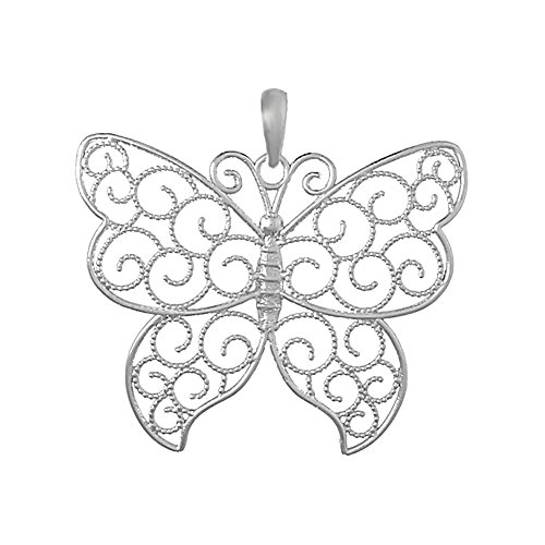 925 Sterling Silver Large Filigree Butterfly Charm Pendant with Beaded Wings Sterling Silver Filigree Butterfly Pendant