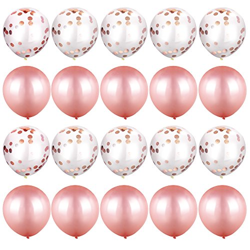 Rose-Gold Confetti Balloons for Party [12 Inch, Pack of 20] Hazy Clear Balloon with Confetti + Metallic Latex Balloons for Baby Shower Birthday Wedding Proposal NYE Party Decoration Supply - - Oval Faux Pearl