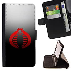 DEVIL CASE - FOR Samsung Galaxy S5 V SM-G900 - Red Cobra - Style PU Leather Case Wallet Flip Stand Flap Closure Cover