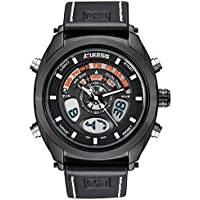 Men's Sports Watch Big Face Analog Digital Quartz Watches Waterproof Backlight Multifunctional Dual Time Display with Leather Strap
