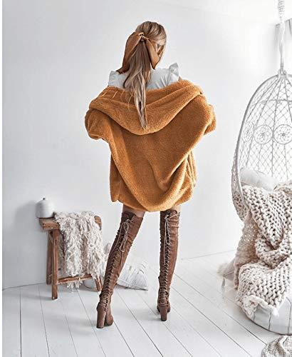 Vellón Chaqueta Otoño Capucha Sólido Invierno Larga Chaquetas Khaki Color Outerwear Polares Cómodo Anchas Manga Moda Capa Termica Con Casual Mujer Elegantes Ropa xYnFB