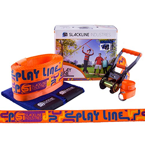 Slackline Industries 50 Foot Play Line with Bonus Help Line, DVD, Tree Protection, and Instruction Manual for Kids and Beginner Adults
