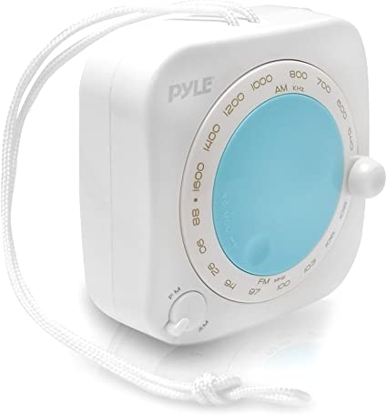 Waterproof Rated AM//FM Radio with Rotary Tuner Pyle PSR71 Shower Radio Speaker