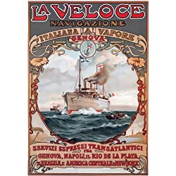 "TX193 Vintage La Veloce Italian Italy Genova Napoli Shipping Cruise Ship Ocean Liner Travel Poster Re-Print - A3 (432 x 305mm) 16.5"" x 11.7"""