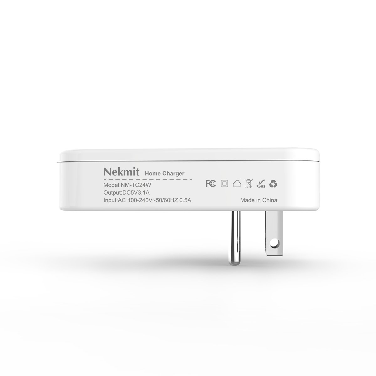 Nekmit Dual Port Ultra Thin Flat USB Wall Charger with Smart IC by Nekmit (Image #5)