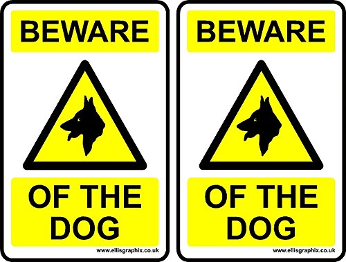 2 x Self Adhesive Beware of the Dog Vinyl Sticker Sign, 100 x 150 mm by Ellis Graphix