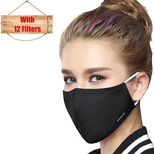 (Mask Washable Reusable Cotton Mouth Masks Replaceable Filter (One Mask + 12 Filters) 4 Layer Activated Carbon Filter Insert Dust Mask Pollen Allergy, PM2.5, Running, Cycling, Outdoor Activities)