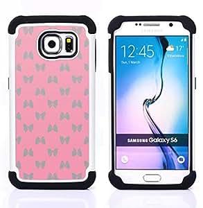- bowtie pattern silver butterfly pink/ H??brido 3in1 Deluxe Impreso duro Soft Alto Impacto caja de la armadura Defender - SHIMIN CAO - For Samsung Galaxy S6 G9200