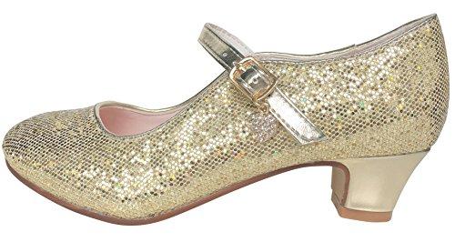 La Señorita Zapato Elsa Anna Frozen oro corazón purpurina Flamenco Sevillanas de la princesa niña