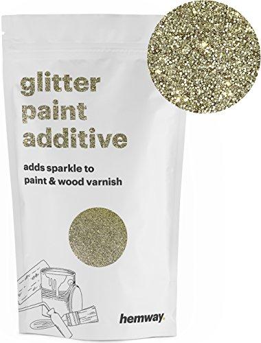Hemway (Gold) Glitter Paint Additive Crystals 100g/3.5oz for Acrylic Latex Emulsion Paint - Interior Exterior Wall, Ceiling, Wood, Varnish, Dead flat, Matte, Gloss, Satin, Silk