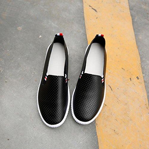 Laufschuhe Ferse Sneakers Leichte auf Sportschuhe beiläufigen Schuhen Schuhe Zehe Frauen Black Plattform aushöhlen flache mit Damen Turnschuhe Schuhe Luftpolster VENMO runde Beleg Profilsohle xq0H06