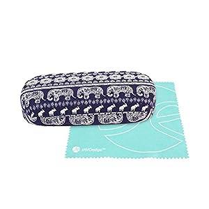 JAVOedge (LARGE SIZE) Blue Elephant Fabric Print Eyeglass Case