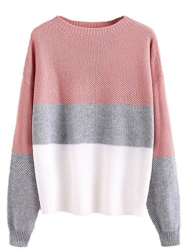 Milumia Womens Drop Shoulder Color Block Textured Jumper Casual Sweater