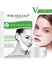 V Line Mask, Chin Up Patch, Double Chin Reducer, Contour Lifting Firming Moisturizing Mask, V-Line Lifting Patches V Shaped Slimming Face Mask, 5 PCS