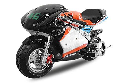 49cc Pocketbike PS88 Minibike Racing Pocket Race Mini Bike Cross (Orange-Schwarz-Weiss) 1130228