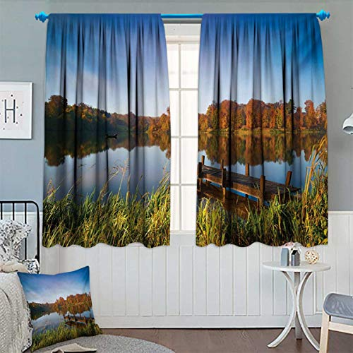 Chaneyhouse Scenery Window Curtain Drape Lake View Fishing Countryside Themed with Trees and Long Reeds Work of Art Photo Decorative Curtains for Living Room 63