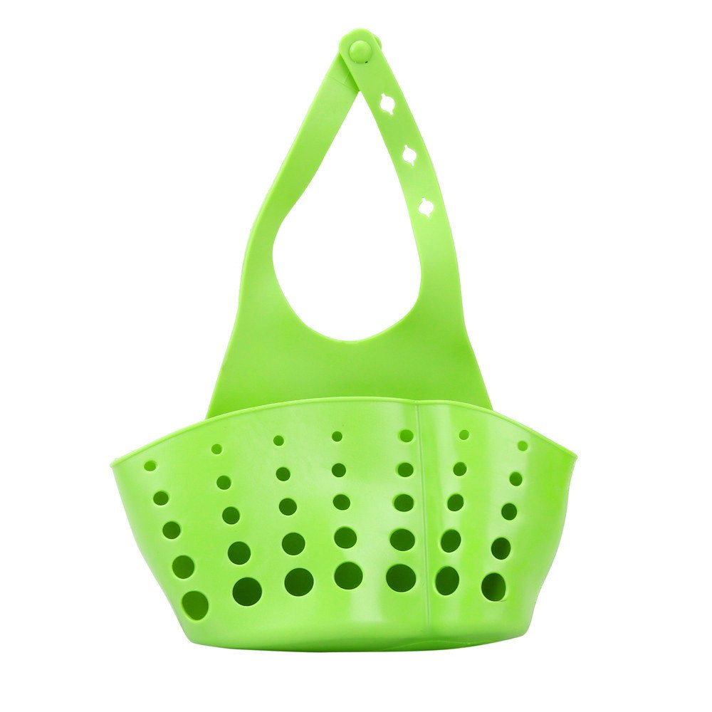 Charberry Portable Home Kitchen Hanging Drain Bag Basket Bath Storage Tools Sink Holder (Green)