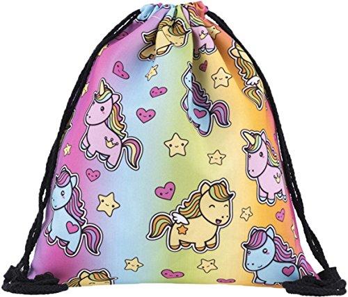 Ababalaya 3D Print Drawstring Backpack Rucksack Shoulder Bags Gym Bag (Cute Unicorn)