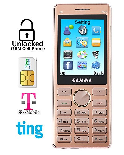 Gamma S9 2.4 Inch Candy Bar Unlocked Cell Phone – Dual-Sim, Big Battery, Full Metal Design with Good Hold Feeling (Rose-golden)