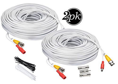 BNC CCTV DVR Cable Video Surveillance Security System Camera Coaxial Wire Cord Connector (50ft 2-Pack) Premade All-in-One with Power Cord - 50 Feet