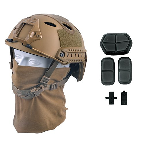 - LOOGU Fast PJ Base Jump Military Helmet with 12-in-1 Headwear(TN)