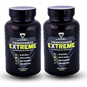 Thermogenic Fat Burner by Vitalize Supplements Extreme Thermogenesis with Ashwagandha is powerful weight loss pill for men & women | Burns fat all day | Increased energy and focus with no crash