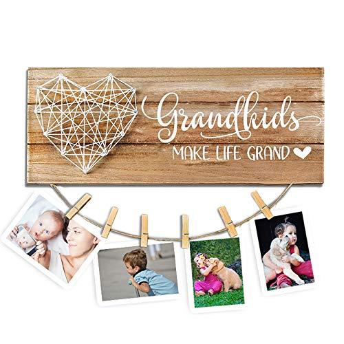 cocomong Grandkids Photo Frame – Grandkids Make Life Grand – Gfits for Grandma & Grandpa from Grandchildren, Grandparents Picture Frame 13.5 x 5.5 inch with 6 Clips