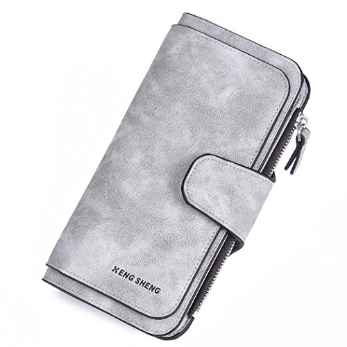 RFID Wallets for Women Leather Clutch Purse Long Ladies Credit Card Wallet by HENGSHENG
