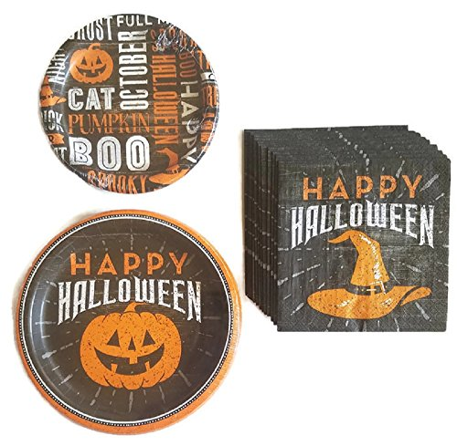 Halloween Party Supplies Paper Plates and Napkins Bundle of 3 - Service for 8 -