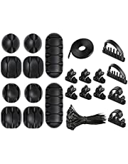 CASTATEO Cable Management Kit -128Pcs Cable Clips Cord Management Organizer, 16 Silicone Cable Holder, 2 Self-adhesive Cables Ties, 10 Cable Clips and 100 Wire Fastening Ties, for Office and Home
