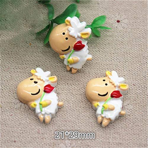 10Pcs Cute Cartoon Animal Cow Resin Flat Back Cabochon Charm DIY Jewelry/Craft Decoration 10pcs2 -