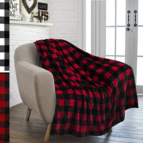 - PAVILIA Flannel Fleece Throw Blanket for Sofa Couch | Super Soft Velvet Plaid Pattern Checkered Decorative Throw | Warm Cozy Lightweight Microfiber | 50 x 60 Inches Plaid Red/Black