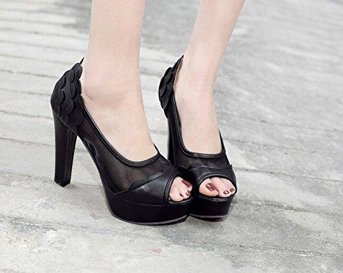 Scarpe Peep Toe Elegante Donna Nero MissSaSa gzRw8Wn