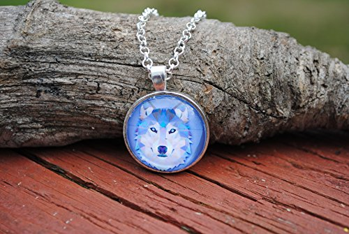Blue Geometric Wolf Glass Dome Circle Pendant Necklace with 24 Inch Chain