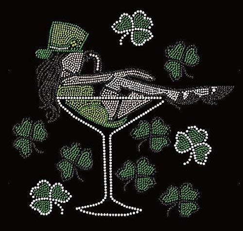 Bling Saint Patrick's Day Irish Girl Drinking Rhinestone Iron on Transfer ()