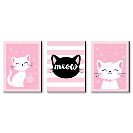 Big Dot Of Happiness Purr Fect Kitty Cat Kitten Meow Nursery Wall Art And Kids Room Decorations Christmas Gift Ideas 7 5 X 10 Inches Set Of 3