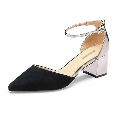 Gljxg Correa Tacones Hueca Verano Punta Para De Primavera Zapatos Mujer Tacón Bajo Moda es Amazon Tobillo Sandalias rw4qxrF1