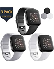 AK 3 Pack Soft TPU Bands Compatible with Fitbit Versa/Versa 2/Versa SE, Elastomer Wristband Sports Waterproof Strap for Fitbit Versa Lite Smart Watch Women Men