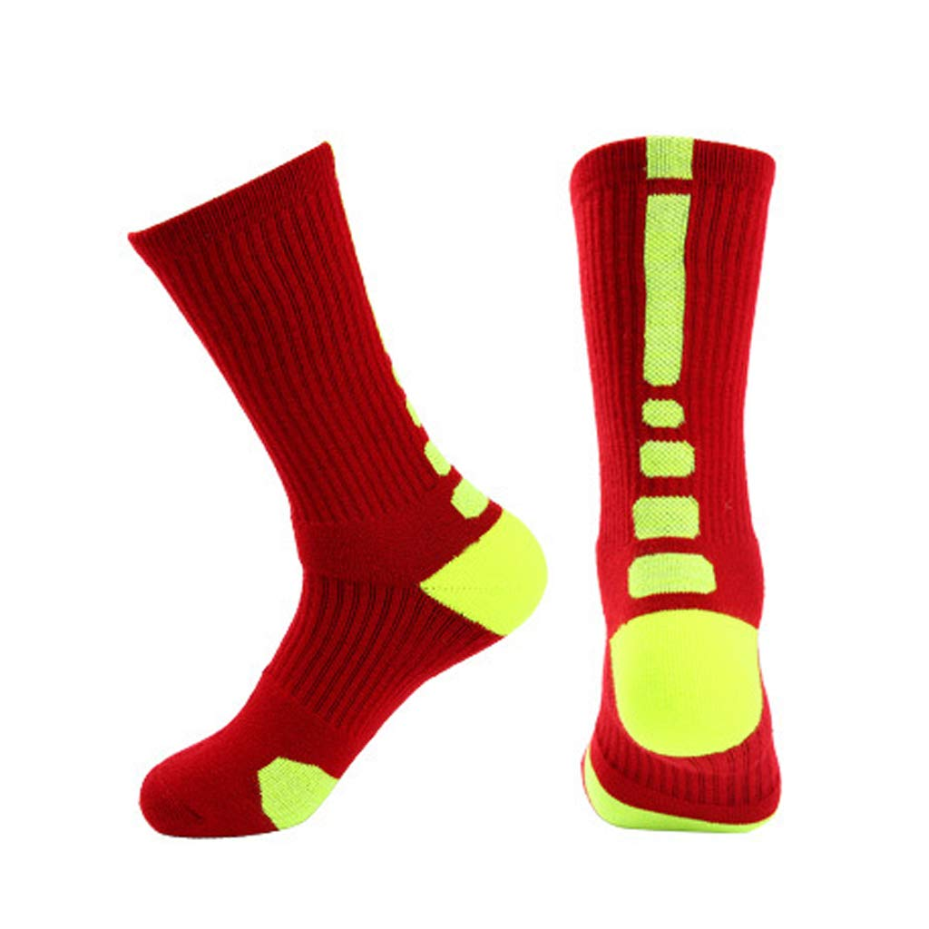 ZHAO YING Tall Tube - Towel Bottom - Sports - Sweat Absorption - Non-Slip - Shock Absorption - Terry - Socks (Color : Red Fluorescent)