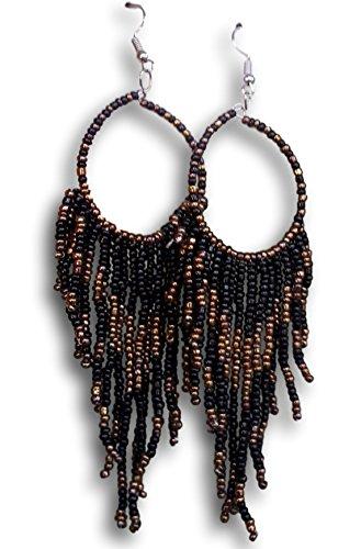 Tribal Dangle Fringe Tassel Bead & Hoop Earrings Native American Style by Pashal (Black)