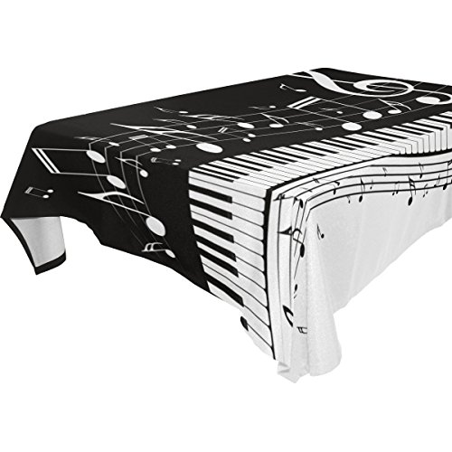 WOZO Rectangular Abstract Piano Music Note Tablecloth Table Cloth Cover for Home Decor Dinner Kitchen Party Picnic Wedding Halloween Christmas 54x54 inch
