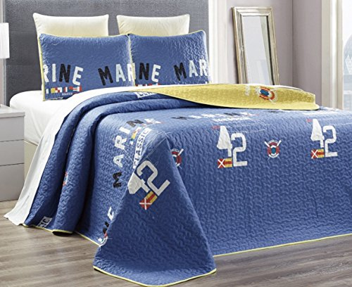3 Piece Nautical Reversible Bedspread Coverlet product image
