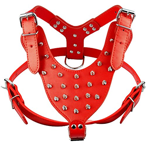 (Didog Red Studded Spiked Leather Dog Harness for Medium and Large Dogs,Fit Pit Bulldog Terrier Mastiff Puppy Boxer)